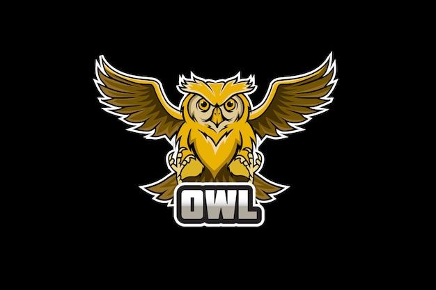 Mascotte de hibou pour le logo de sports et d'esports isolé