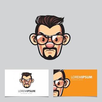 Mascotte homme hipster et cartes de visite