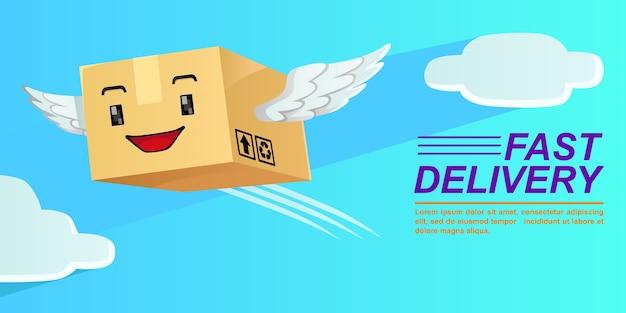 Mascotte d'illustration de la boîte de livraison de colis volant, vecteur de haute qualité