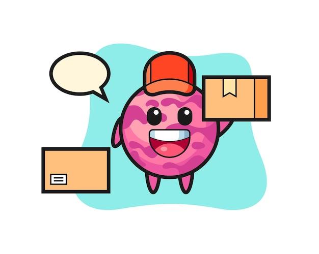 Mascotte illustration d'une boule de crème glacée en tant que coursier, design de style mignon pour t-shirt, autocollant, élément de logo