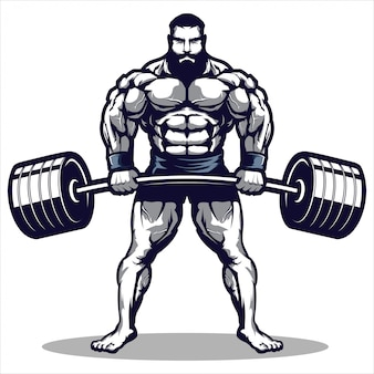 Mascotte d'une illustration de l'homme de gym