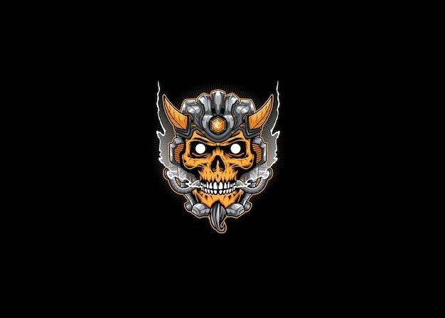 Mascotte d'illustration de robot crâne démon