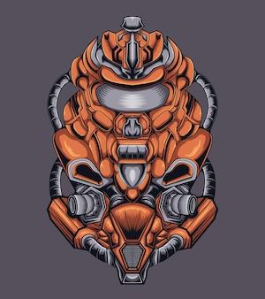 Mascotte d'illustration de robot de guerre