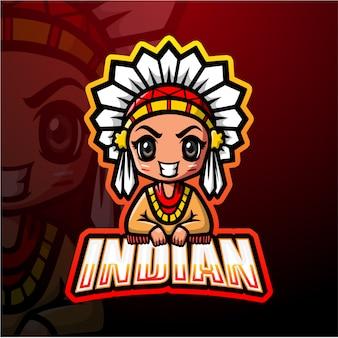 Mascotte indienne esport illustration