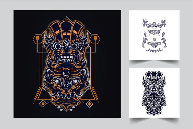 Mascotte indonésienne de culture avec style concept illustration moderne