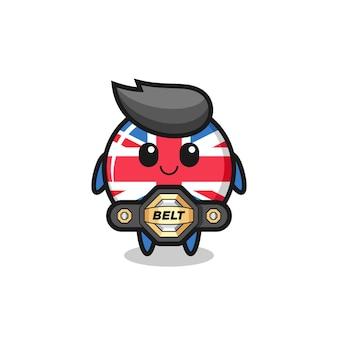 La mascotte d'insigne de drapeau du royaume-uni de combattant mma avec une ceinture, un design de style mignon pour un t-shirt, un autocollant, un élément de logo