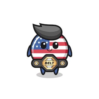 La mascotte d'insigne de drapeau des états-unis de combattant mma avec une ceinture, un design de style mignon pour un t-shirt, un autocollant, un élément de logo