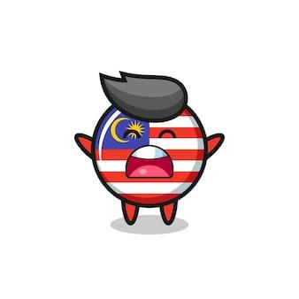 Mascotte d'insigne de drapeau malaisie mignonne avec une expression de bâillement, design de style mignon pour t-shirt, autocollant, élément de logo