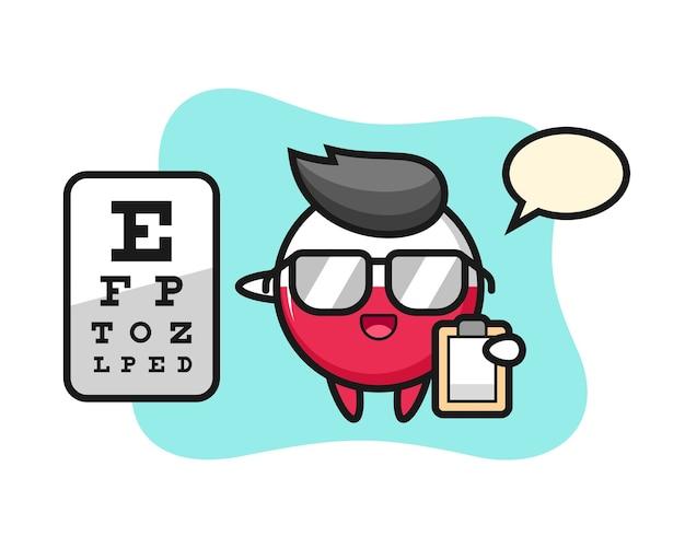 Mascotte d'insigne du drapeau de la pologne comme ophtalmologie