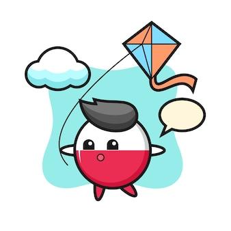 La mascotte de l'insigne du drapeau de la pologne joue au cerf-volant