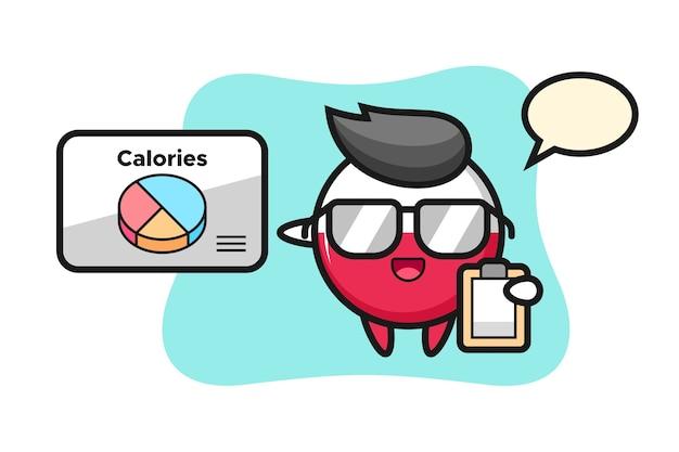 Mascotte d'insigne du drapeau de la pologne en tant que diététiste