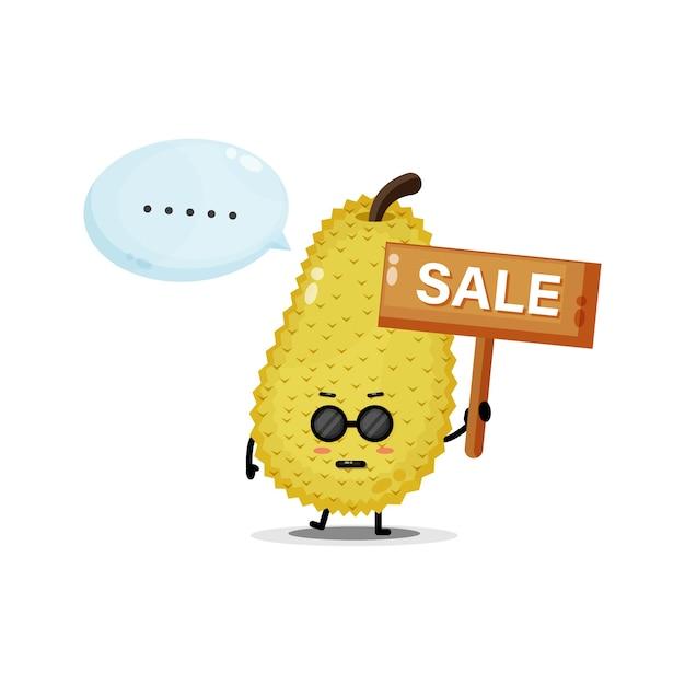 Mascotte de jacquier mignon avec le signe des ventes