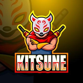 Mascotte de kitsune ninja esport