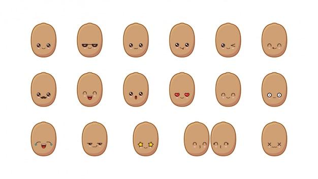 Mascotte kiwi mignonne de kiwi. définir des visages de nourriture kawaii