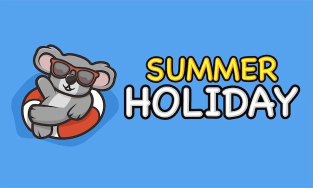 Mascotte de koala cool dans le modèle de bannière de vacances d'été