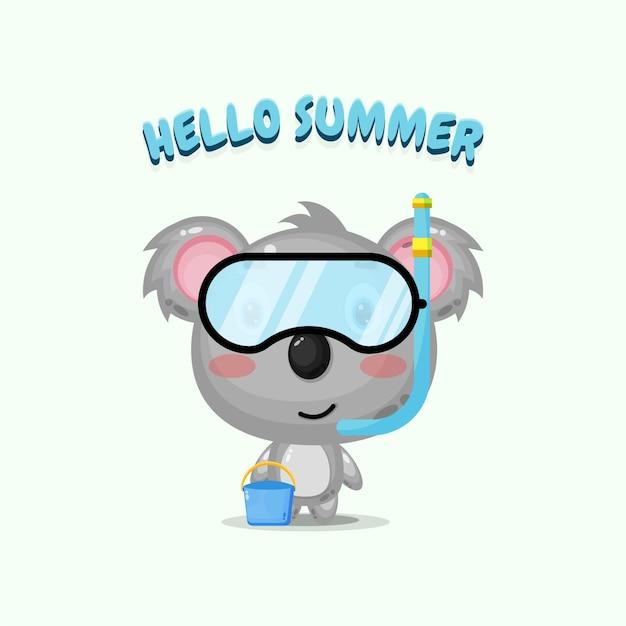 Mascotte de koala mignon portant un équipement de plongée avec des salutations d'été