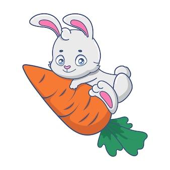 Mascotte de lapin drôle de bande dessinée tenant une carotte géante