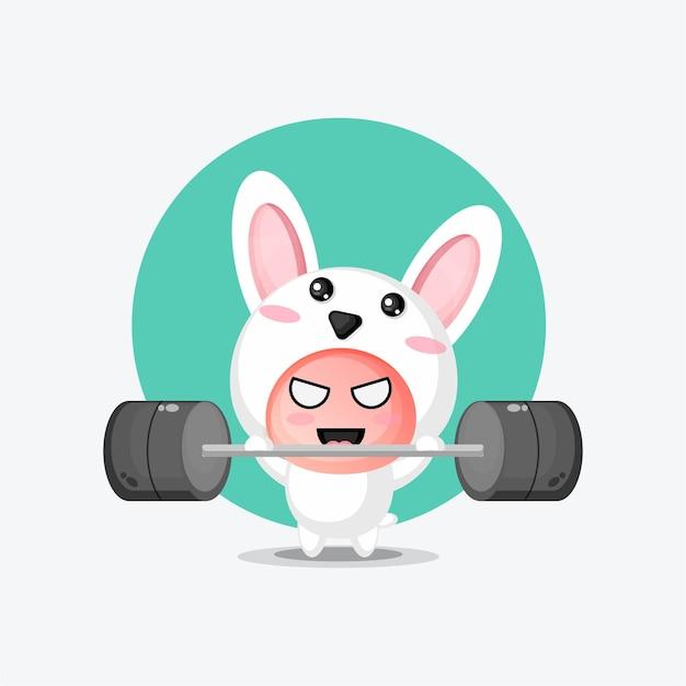 Mascotte de lapin mignon gym fitness