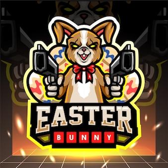 Mascotte de lapin de pâques tenant une création de logo arme esport