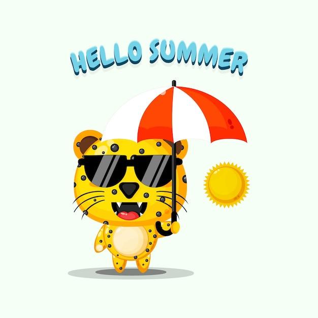 Mascotte de léopard mignon portant un parapluie avec des salutations d'été