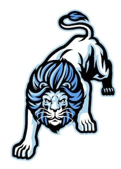 Mascotte de lion blanc accroupi en colère