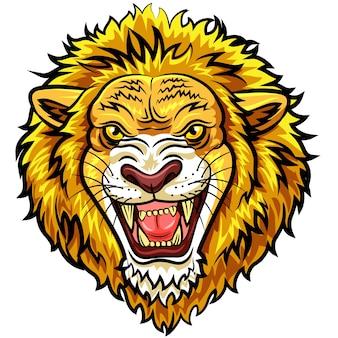 Mascotte de lion en colère tête de bande dessinée