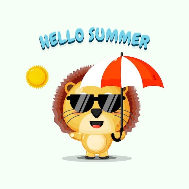 Mascotte de lion mignon portant un parapluie avec des salutations d'été