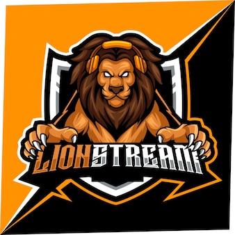 Mascotte de lion stream pour le logo de sports et d'esports
