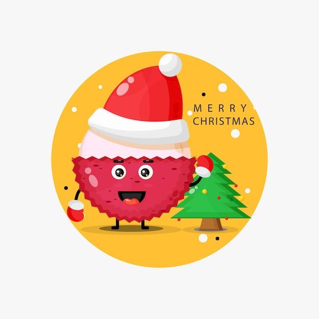 Mascotte De Litchi Mignonne Vous Souhaitant Un Joyeux Noël Vecteur Premium