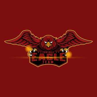 Mascotte logo aigle rouge
