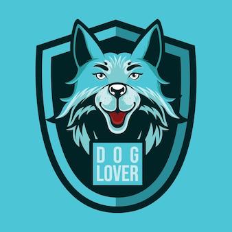 Mascotte logo amoureux des chiens