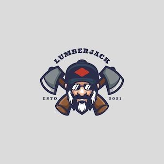 Mascotte De Logo De Bûcheron Vecteur Premium