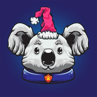 Mascotte de logo de chapeau de noël koala blanc