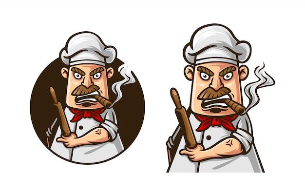 Mascotte de logo chef en colère