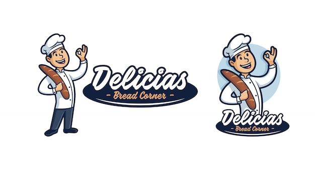Mascotte de logo de chef de pain