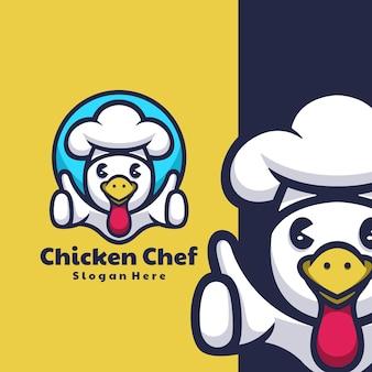 Mascotte de logo de chef de poulet