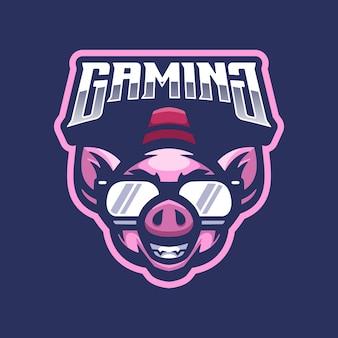 Mascotte de logo de cochon