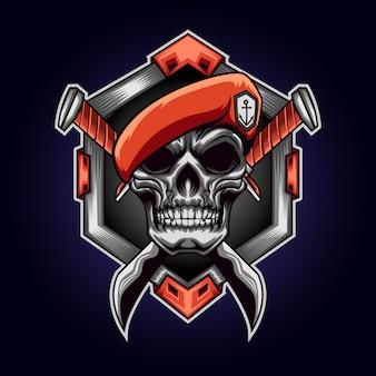 Mascotte de logo crâne armée avec couteau
