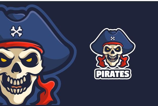 Mascotte de logo de crâne de pirate