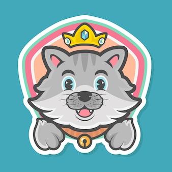 Mascotte de logo de dessin animé de chat mignon