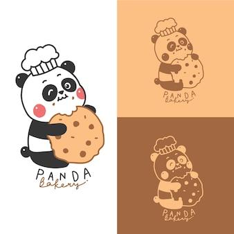 Mascotte logo dessin animé panda mignon pour boulangerie.