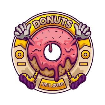 Mascotte de logo donut en badge cercle