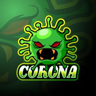 Mascotte de logo esport virus corona