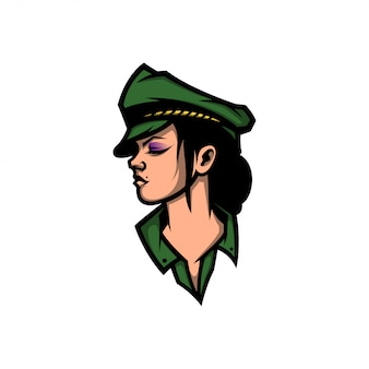 Mascotte de logo femme armée