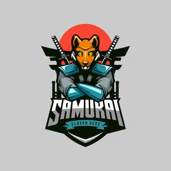 Mascotte de logo fox samurai