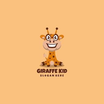 Mascotte de logo de girafe