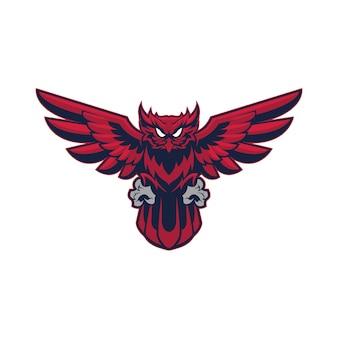 Mascotte logo hibou rouge