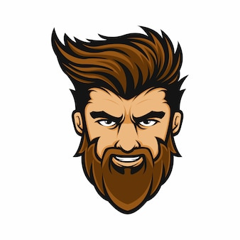 Mascotte logo homme coiffure barbe