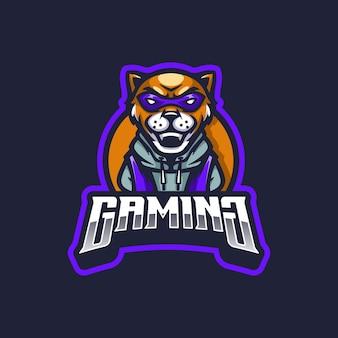 Mascotte de logo de jeu de lion