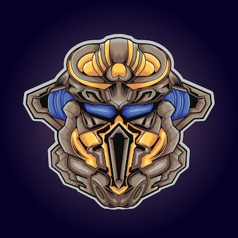 Mascotte de logo de jeu de robot mignon